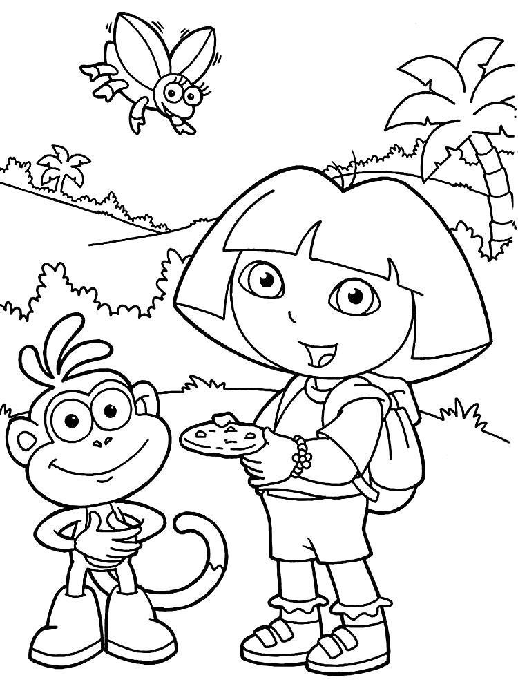 Раскраска Даша путешественница с обезьянкой  фломастером онлайн  для детей распечатать, скачать. Скачать .  Распечатать