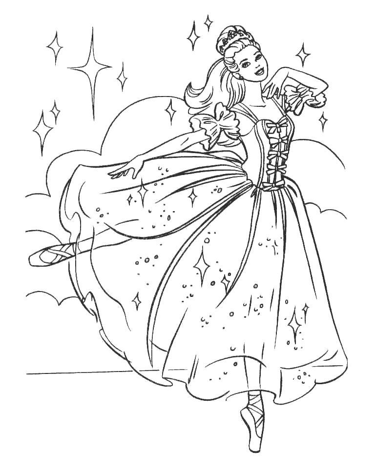 Раскраска Барби танцует. Скачать барби.  Распечатать барби