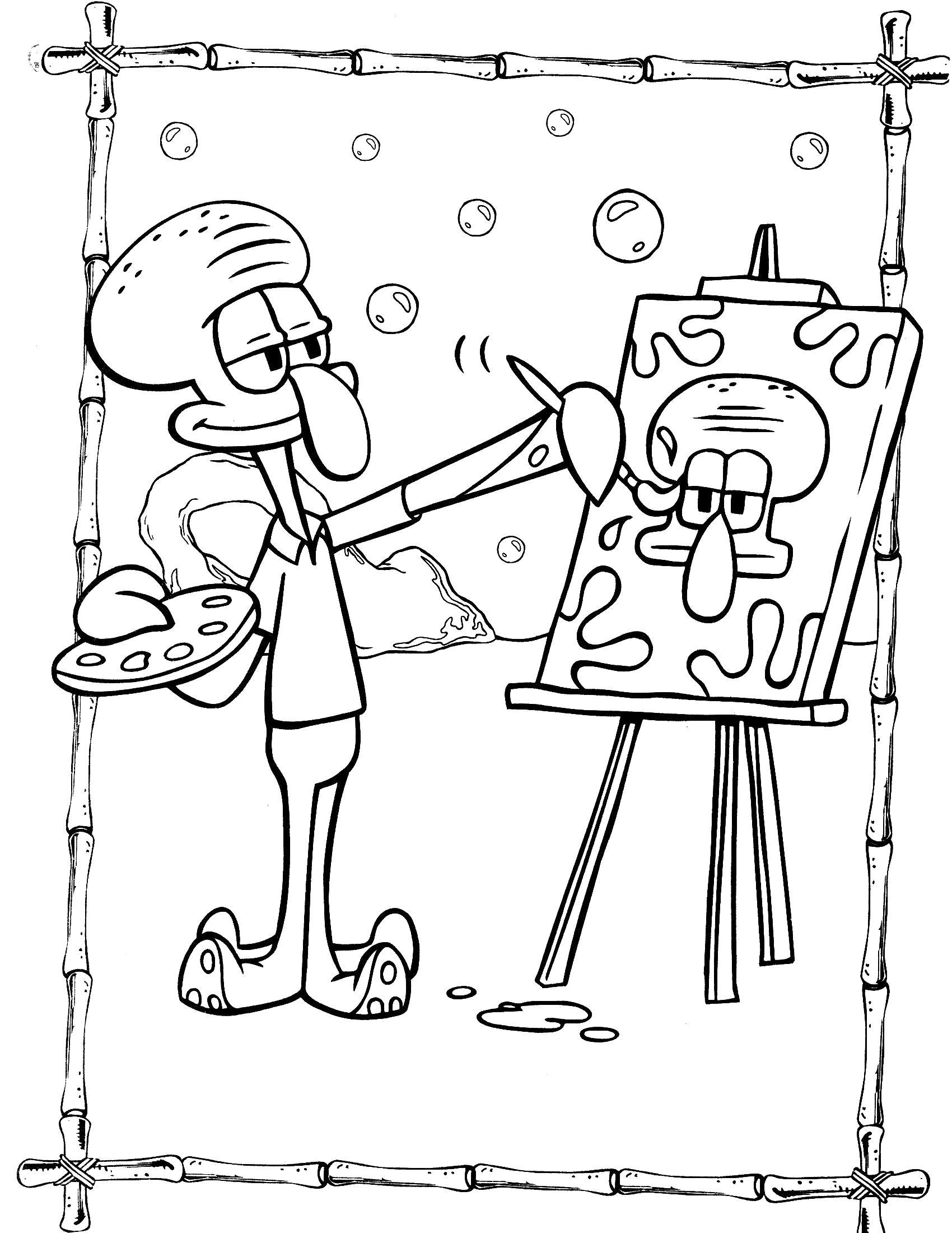 Раскраска Сквидвард рисует. Скачать Сквидвард.  Распечатать Спанч боб