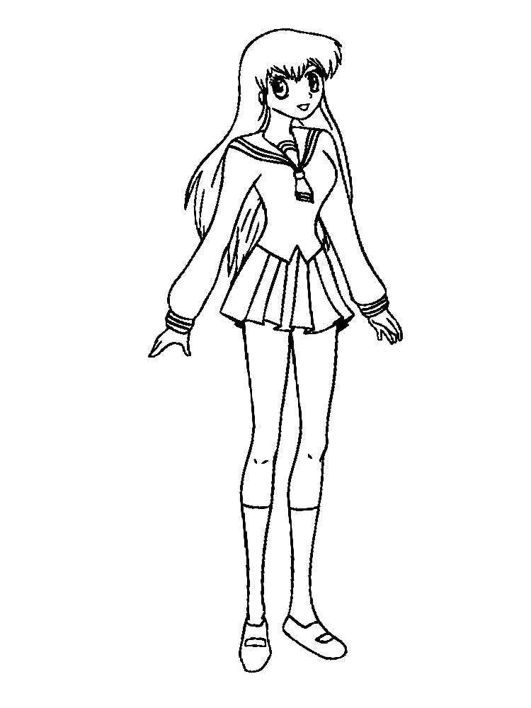 Раскраска  для девочек аниме. Скачать Аниме.  Распечатать Аниме
