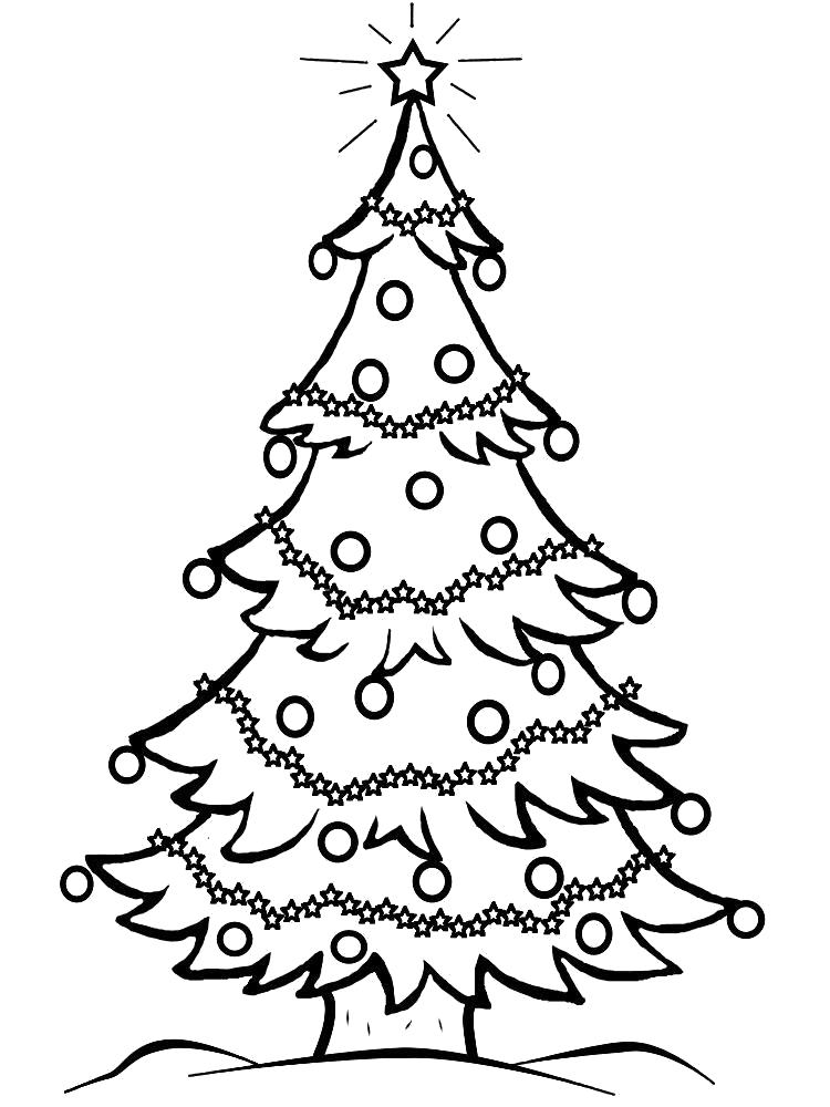Раскраска Распечатать  для детского творчества новогодние елки. Скачать новогодние.  Распечатать новогодние