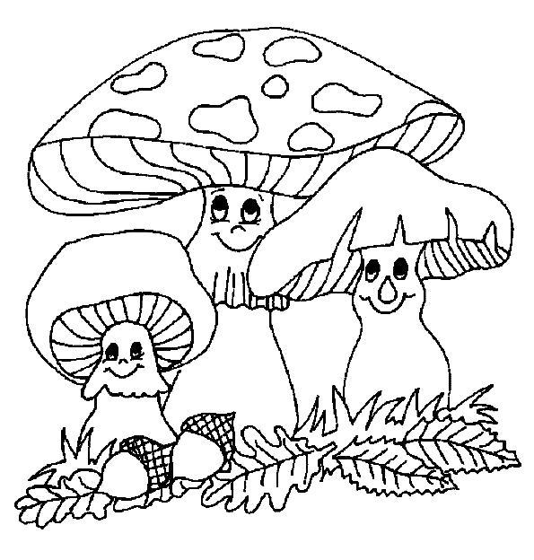 Раскраска осенние грибы листья и жолуди. Скачать Осень.  Распечатать Осень