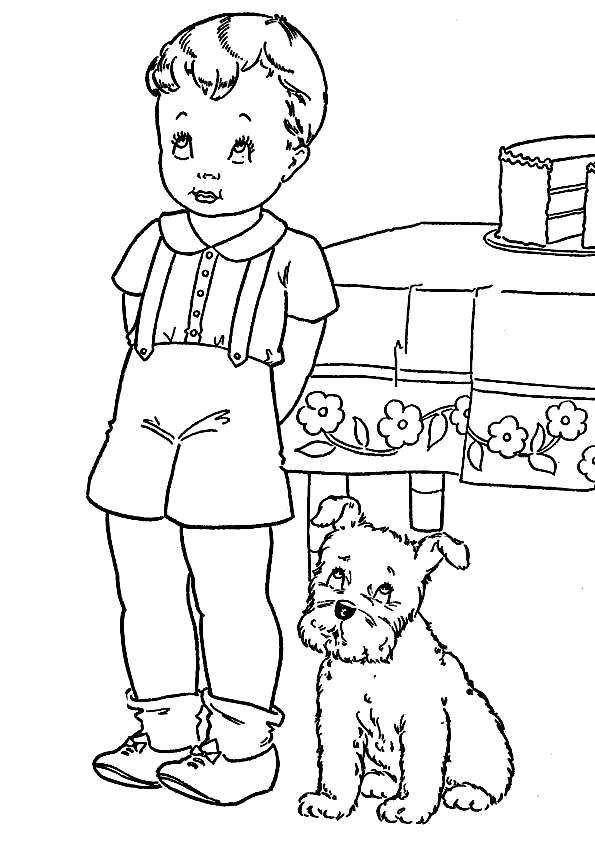 Раскраска Два друга. Скачать Собаки.  Распечатать Собаки