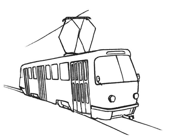 Раскраска Трамвай. Скачать .  Распечатать