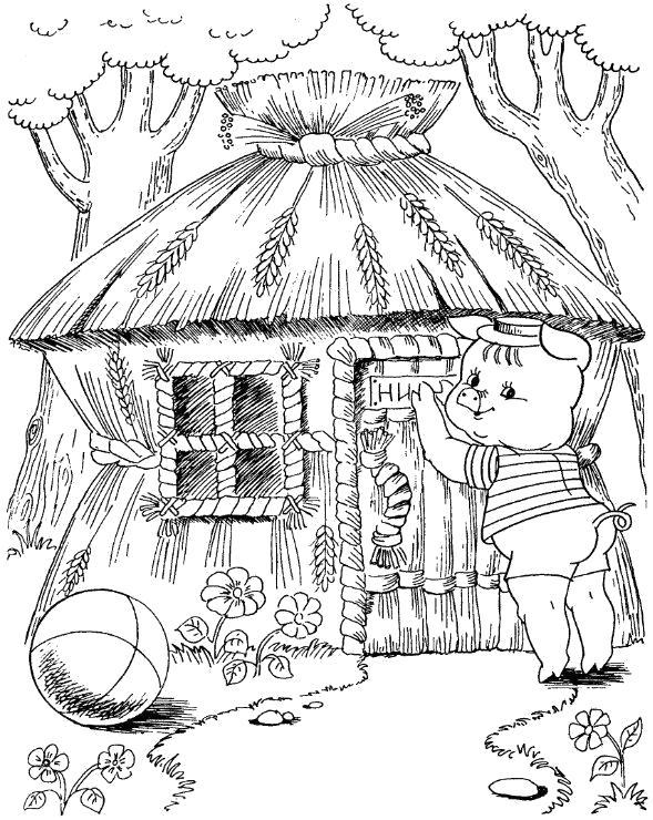 Раскраска Ниф-ниф строит дом из соломы. Скачать три поросенка.  Распечатать три поросенка