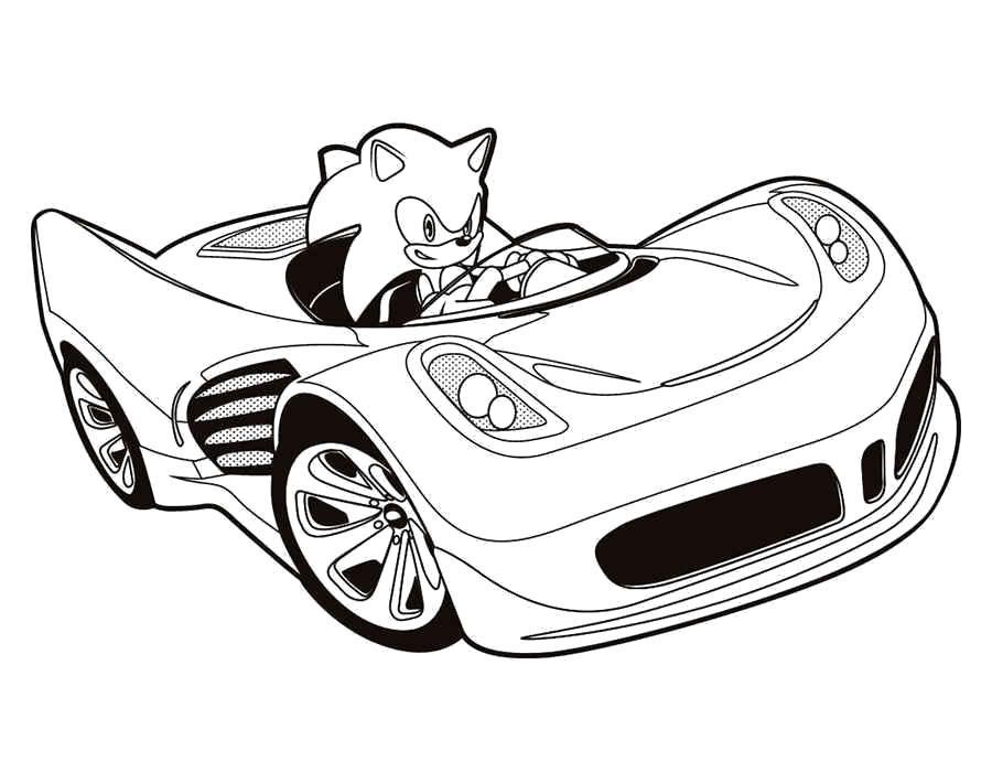 Раскраска  Соник Икс в машине. Скачать .  Распечатать