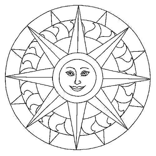 Раскраска Мандала с солнцем. Скачать .  Распечатать
