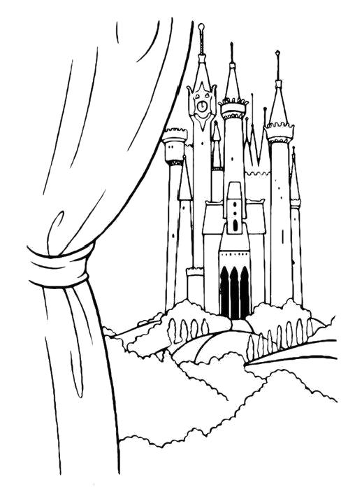 Раскраска  Замок за окном. Скачать Замок.  Распечатать Замок