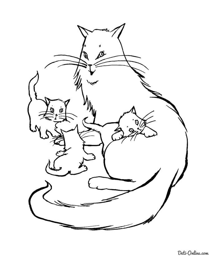 Раскраска  Кошка и три маленьких котенка. Скачать кошка, Котенок.  Распечатать Домашние животные