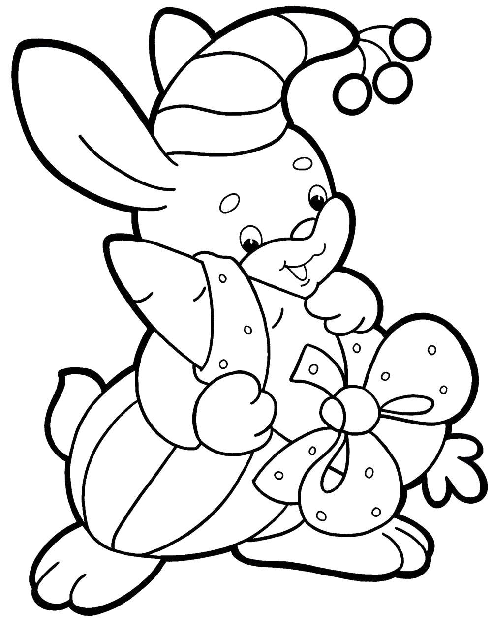 Раскраска морковка в подарок зайке. Скачать Подарки.  Распечатать Подарки