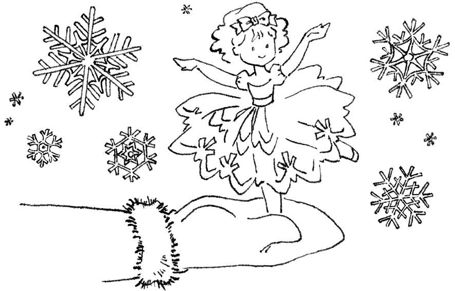 """Раскраска  """"Танец снежинки"""".. Скачать Снежинки.  Распечатать Новый год"""