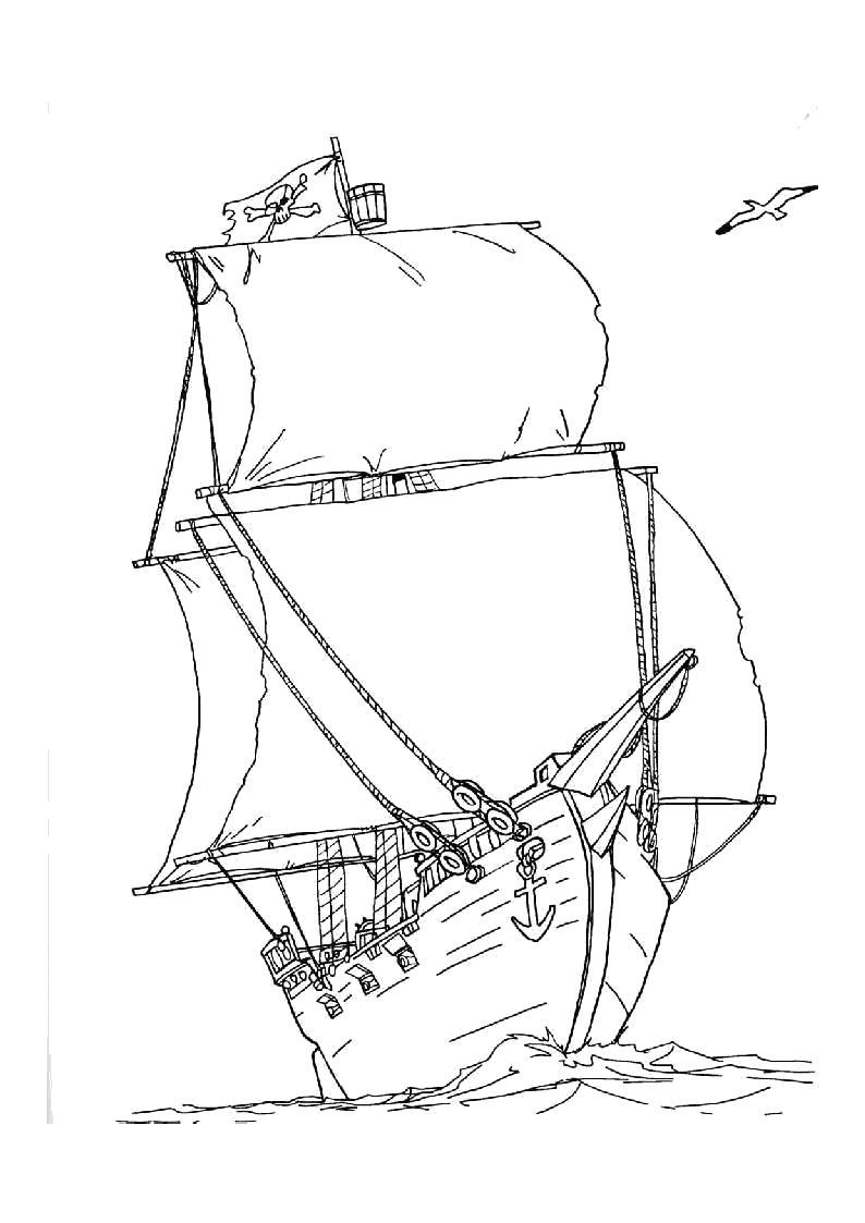 Раскраска Детские  - Пираты. Скачать Пират.  Распечатать Пират