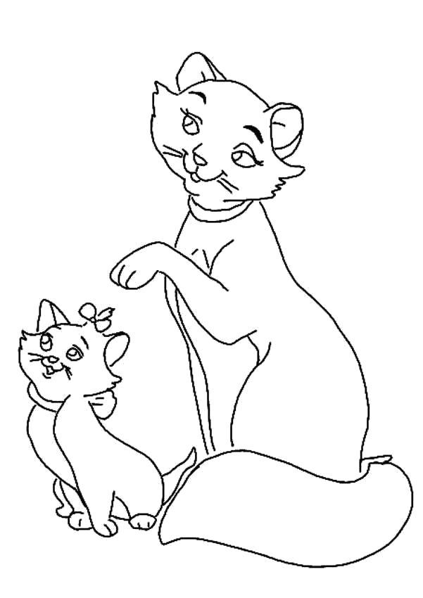 Раскраска Мари с мамой. Скачать кошка, Котенок.  Распечатать Домашние животные