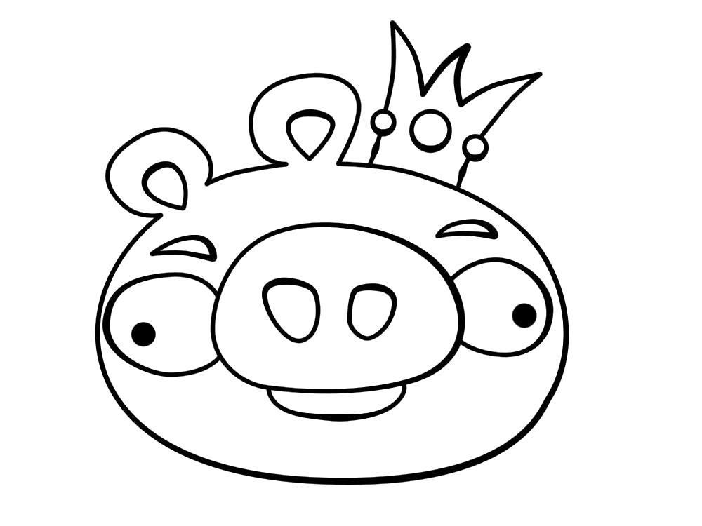 Раскраска Король свиней. Скачать энгри берд.  Распечатать энгри берд