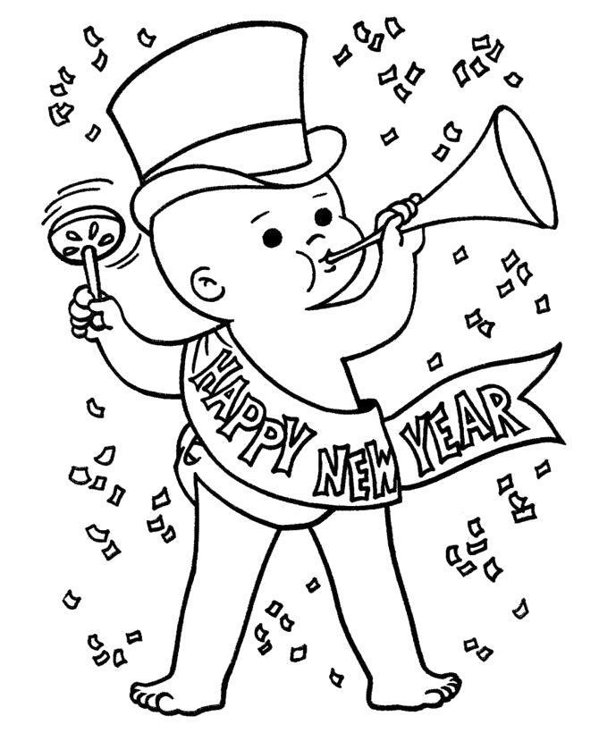 Раскраска Малыш поздравляет с новым годом. Скачать .  Распечатать