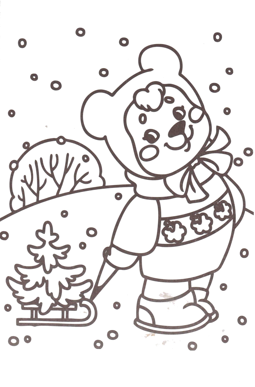 Раскраска зайчик везет елку,  снег,  зайчик в зимней одежде. Скачать новогодние.  Распечатать новогодние