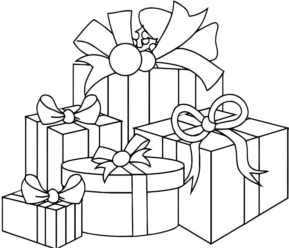 Раскраска подарки, рождественские подарки. Скачать Рождество.  Распечатать Рождество