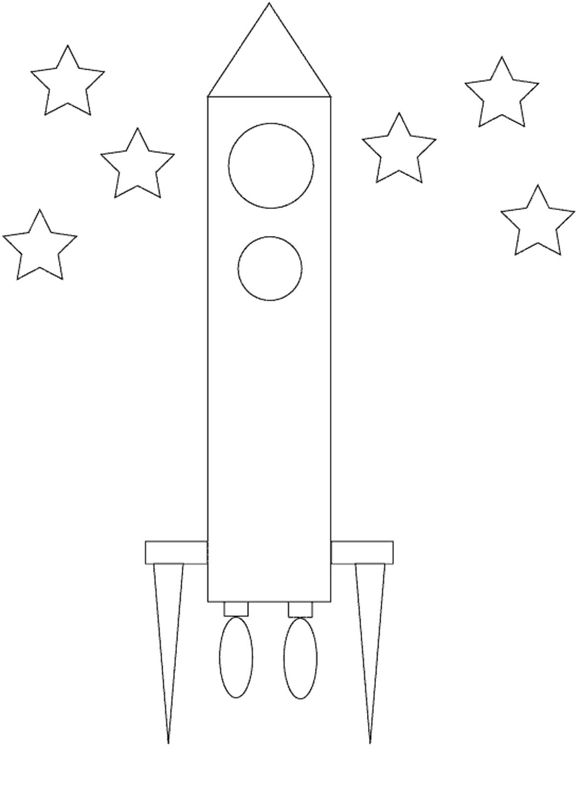 Раскраска ракета аппликация из бумаги. Скачать круг, звезда, треугольник.  Распечатать геометрические фигуры