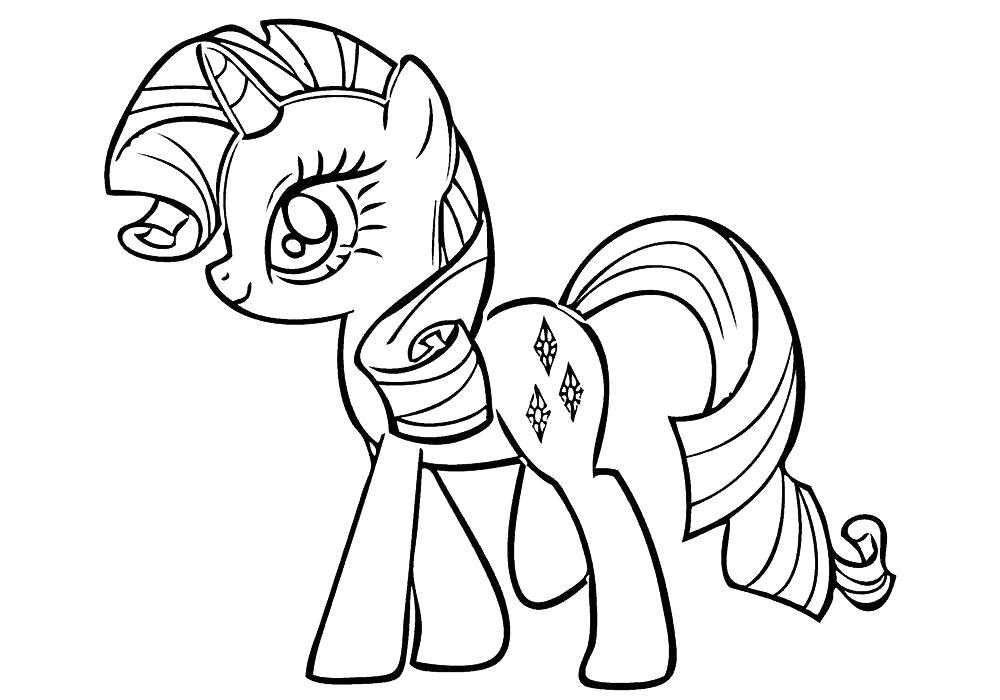 Раскраска Рарити. Скачать Пони.  Распечатать Пони