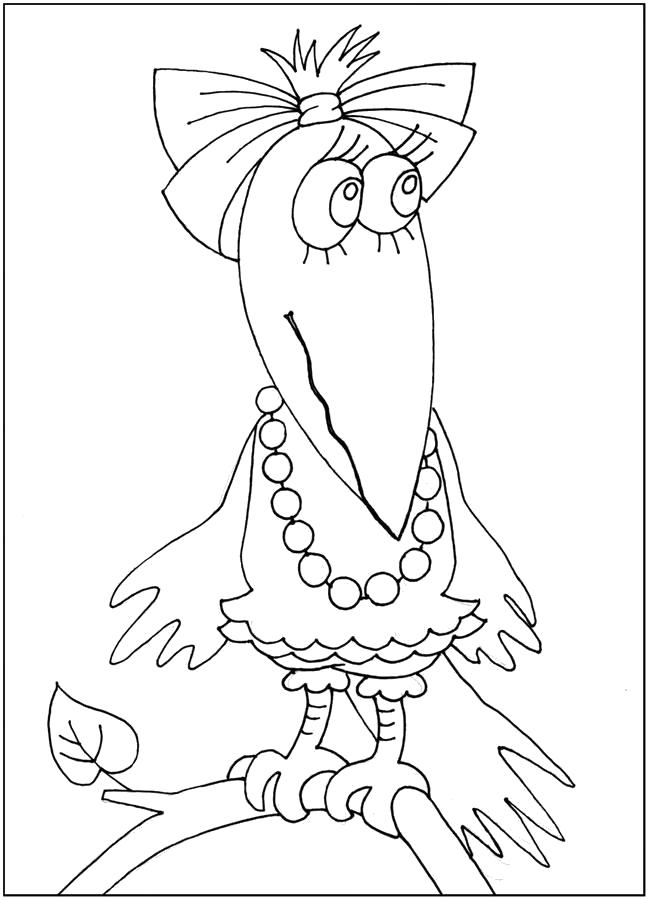 Раскраска Хитрая ворона тоже любит яркие цвета,  для малышей и .... Скачать Ворона.  Распечатать Ворона