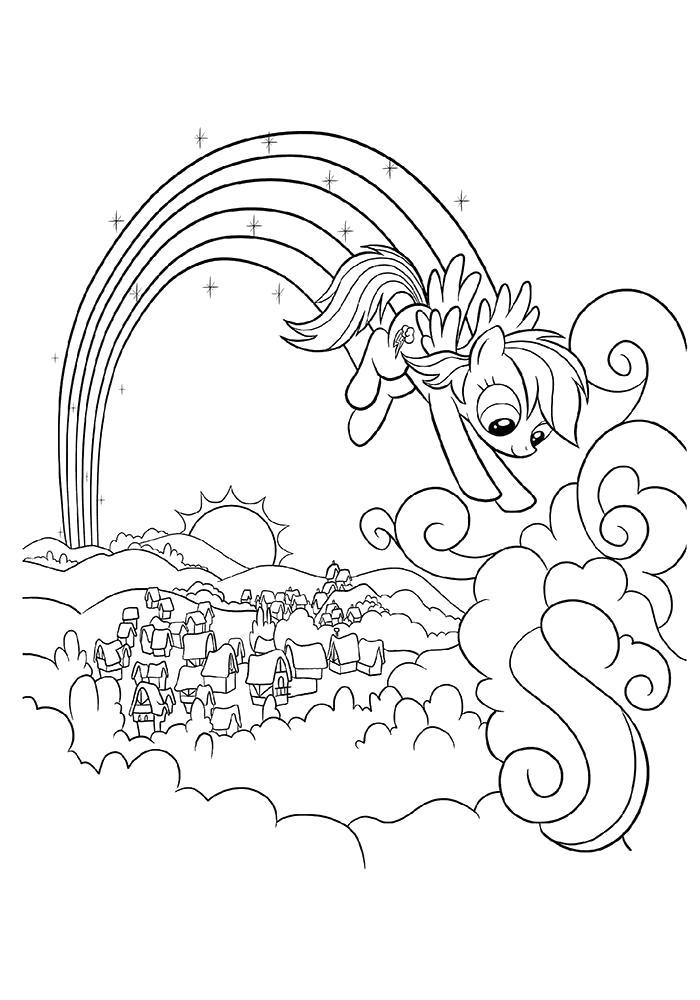 Раскраска  для девочек Радуга. Скачать Пони.  Распечатать Пони