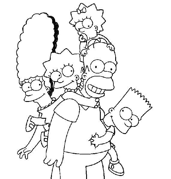Раскраска Счастливая семейка Симпсонов. Скачать Симпсоны.  Распечатать Симпсоны