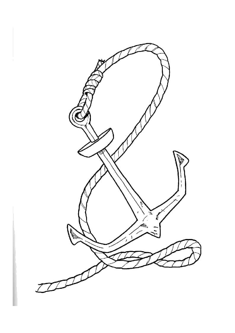 Раскраска Якорь. Скачать Пират.  Распечатать Пират