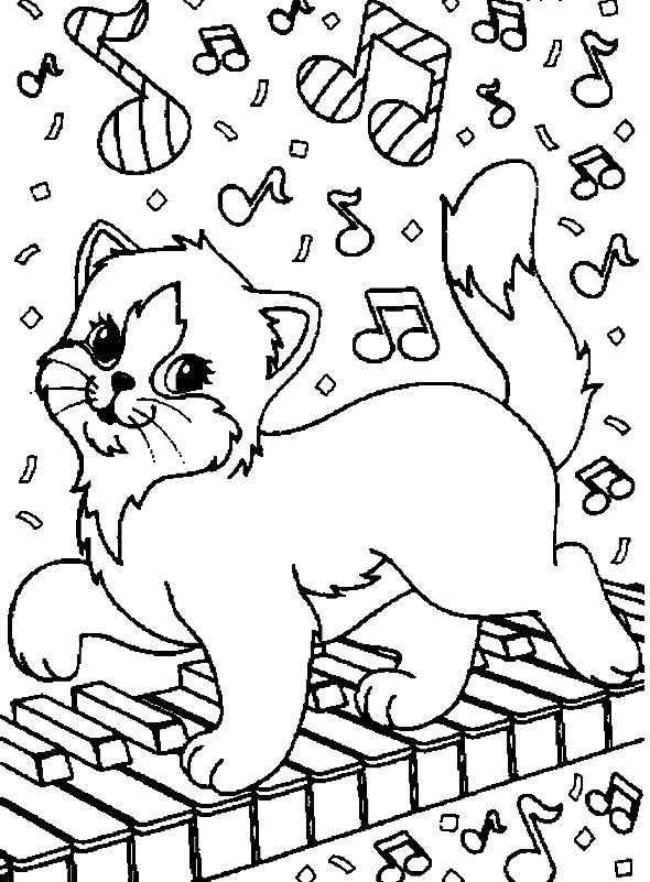 Раскраска  котов и котят. Скачать кошка.  Распечатать Домашние животные