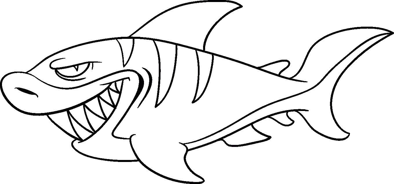 Раскраска Рисунок- акулы. Скачать животных.  Распечатать животных