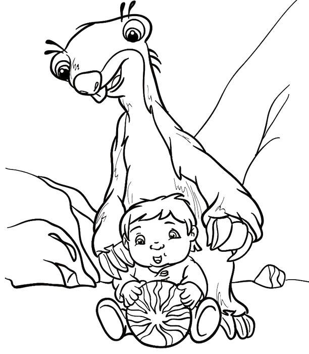 Раскраска Сид с малышом. Скачать .  Распечатать
