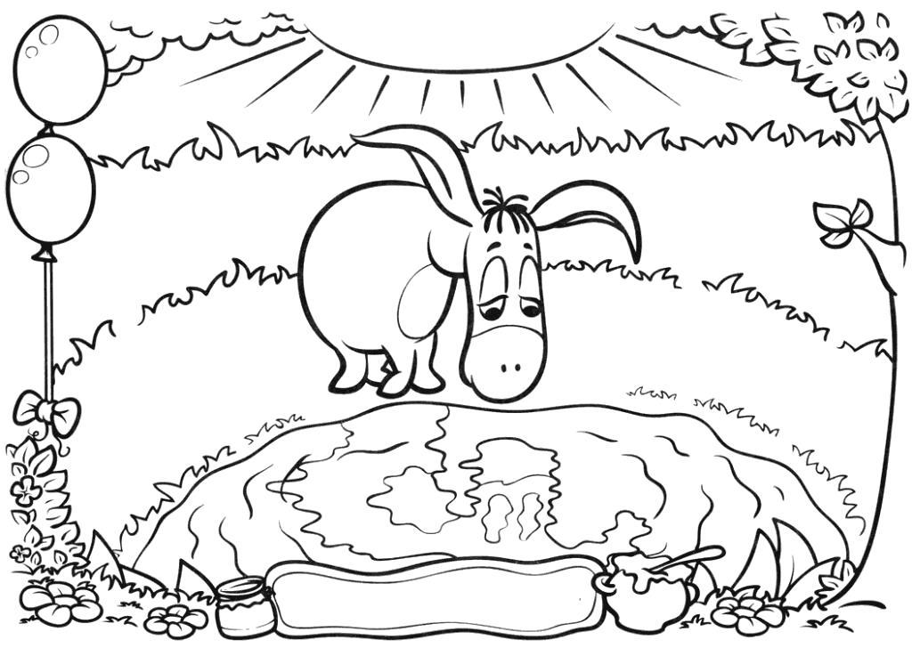 Раскраска  для детей Винни-пух и Пятачок. Ослик ИА. Скачать Винни.  Распечатать Винни