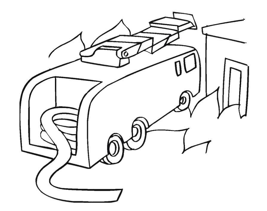 Раскраска  пожарная машина и надувной шланг, шланг для воды. Скачать Пожарная Машина.  Распечатать Пожарная Машина