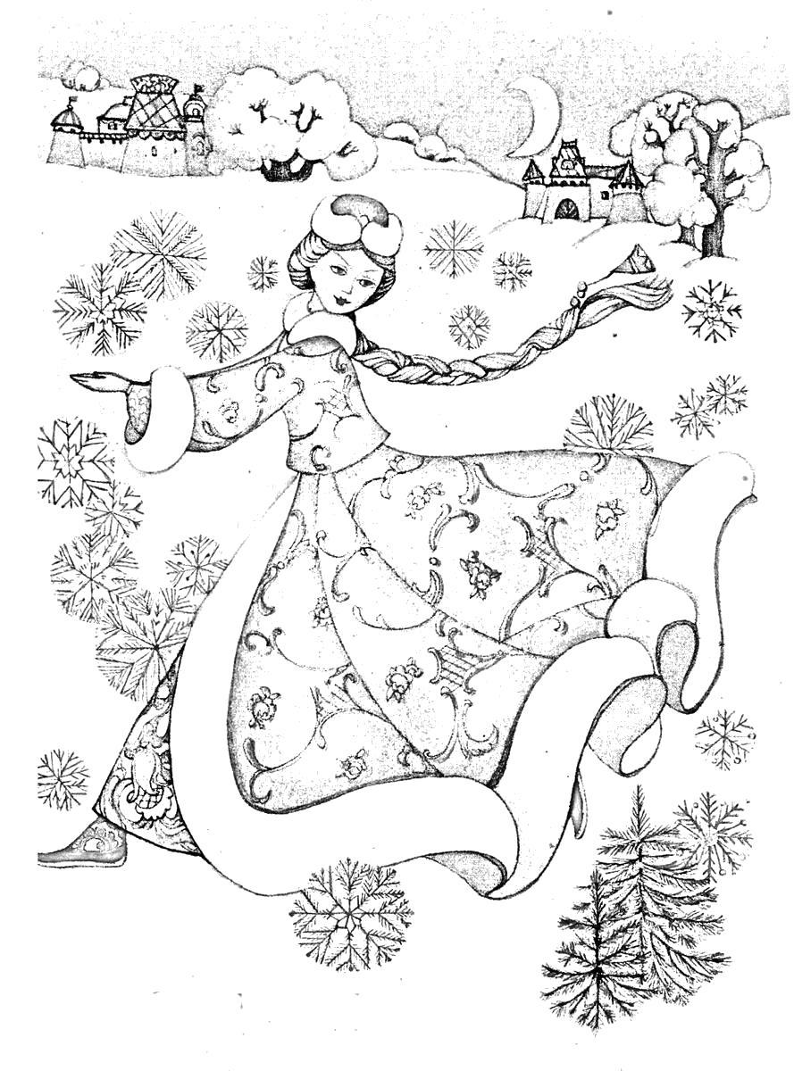 Раскраска Снегурочка. . Скачать Снегурочка.  Распечатать Новый год
