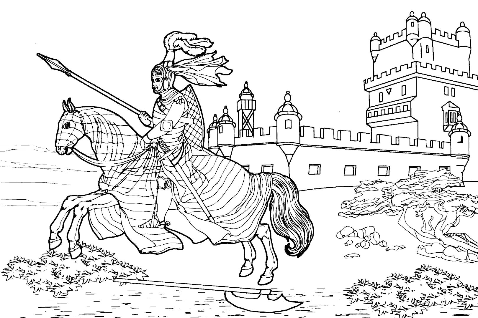 Раскраска Средневековый рыцарь на коне и замок. Скачать Рыцарь.  Распечатать Рыцарь