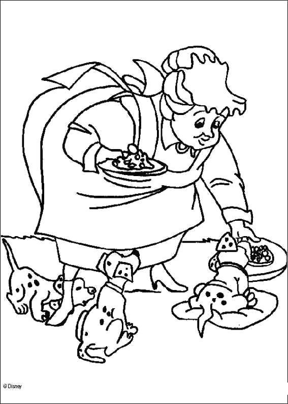 Раскраска  для детей - 101 далматинец, бабушка кормит собак. Скачать 101 далматинец.  Распечатать 101 далматинец