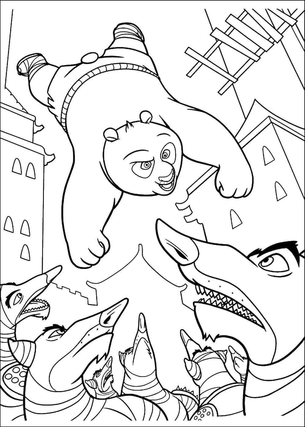 Раскраска В атаку. Кунг-фу панда. Скачать Панда.  Распечатать Панда