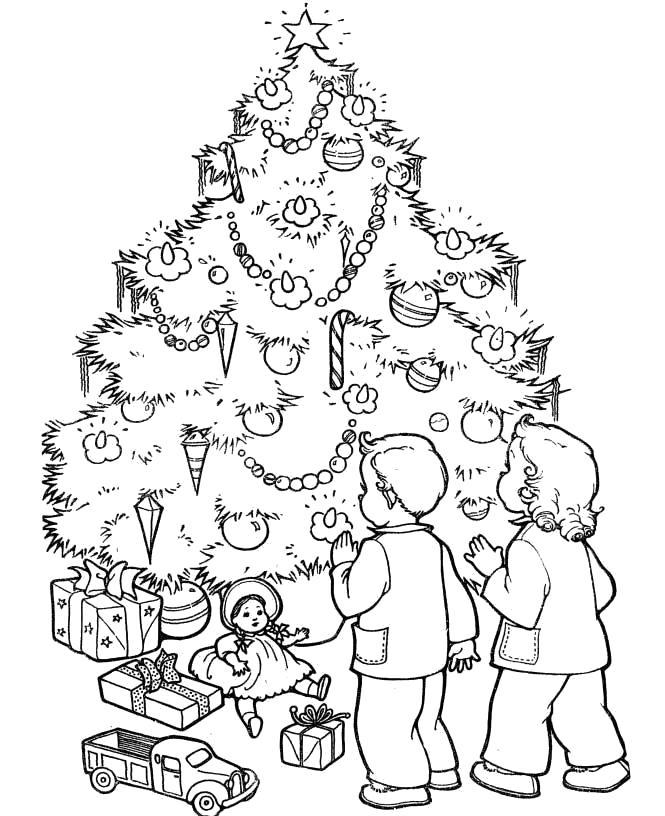 Раскраска Новогодняя елка. . Дети около новогодней елки. Скачать Елка.  Распечатать Новый год