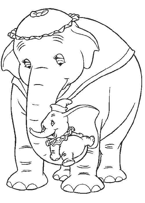 Раскраска  Дамбо и мама. Скачать Дамбо.  Распечатать Дамбо