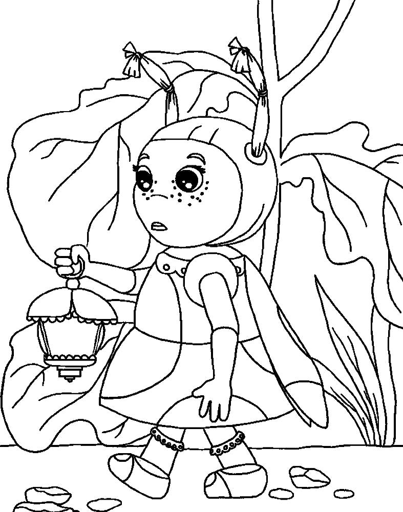 Раскраска Детские полезные  Лунтик для творческих малышей. Скачать Мила.  Распечатать Лунтик
