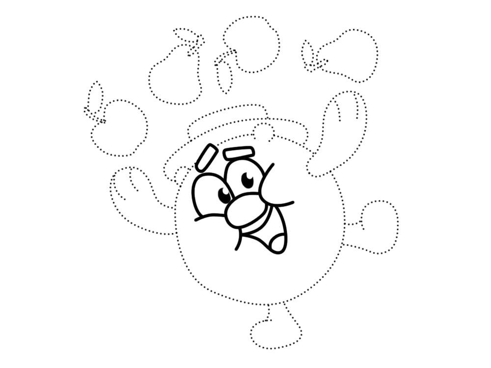Раскраска Обвести по точкам и раскрасить красками картинки Копатыч из Смешариков для детей, крош. Скачать по точкам.  Распечатать по точкам