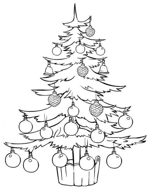 Раскраска елка с шариками. Скачать новогодние.  Распечатать новогодние