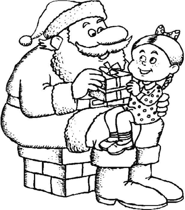 Раскраска Дед Мороз слушает пожелания. Скачать .  Распечатать