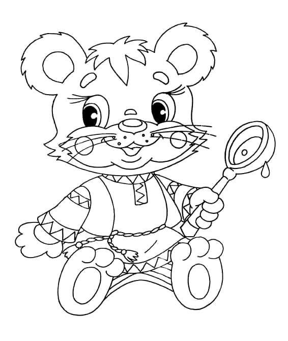 Раскраска Мишка с ложкой. Скачать .  Распечатать