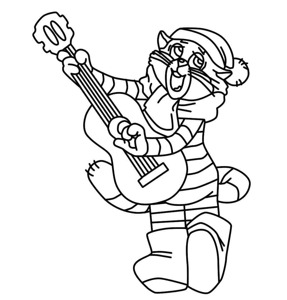 Раскраска кот матроскин играет на гитаре. Скачать .  Распечатать