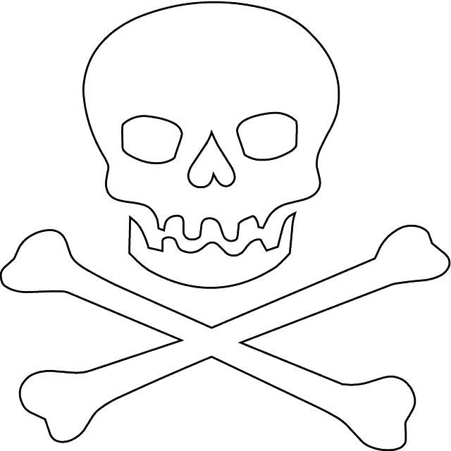 Раскраска Знамя пиратов. Скачать Череп.  Распечатать Череп