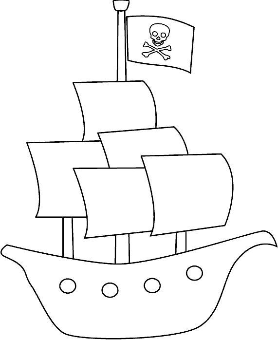 Раскраска Кораблик, пиратский корабль. Скачать корабль.  Распечатать корабль