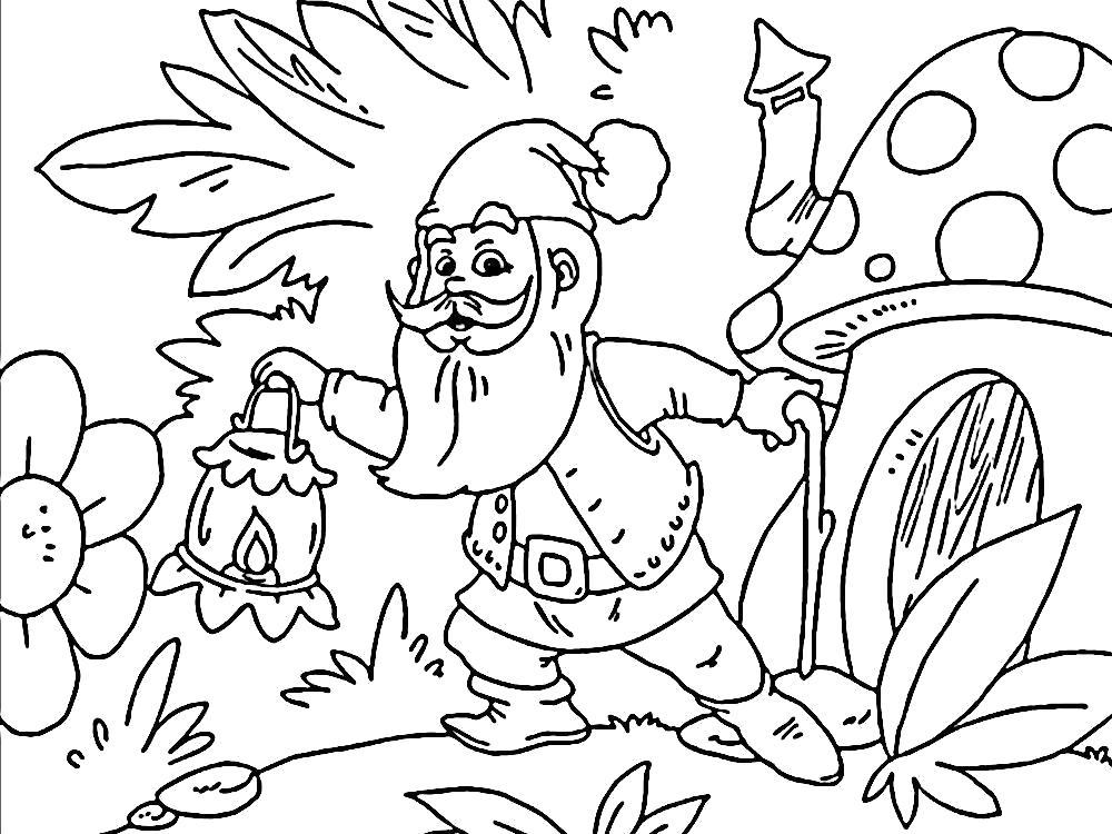 Раскраска Осматриваясь гном в  лесу около дома. Скачать гном.  Распечатать гном
