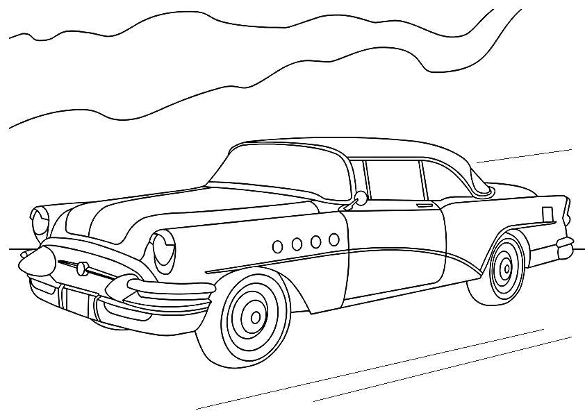 Раскраска  машинок, машина, машина едет по дороге. Скачать Для мальчиков.  Распечатать Для мальчиков