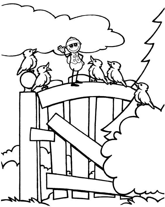 Раскраска Птички на воротах. Скачать .  Распечатать