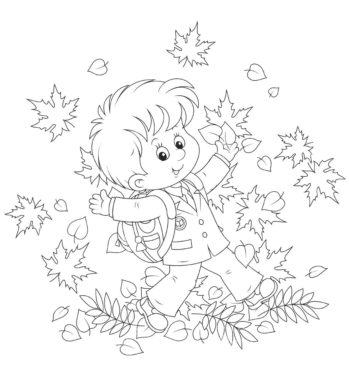 Раскраска Мальчик осенью идет в школу. Скачать Осень.  Распечатать Осень